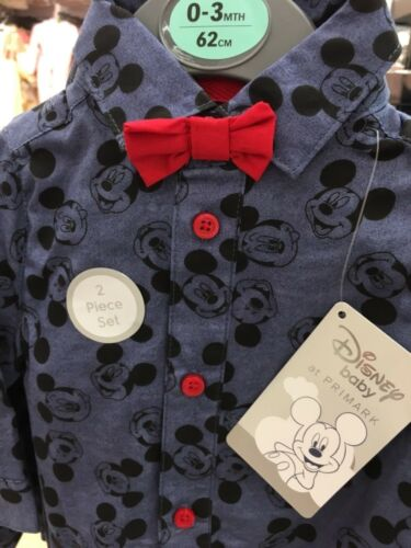 DISNEY MICKEY MOUSE Babygro Shirt Bow Tie Baby Primark All In One 0-18 Months