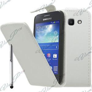 Etui-Coque-Rabat-Simili-Cuir-BLANC-Samsung-Galaxy-Trend-Lite-S7390-S7392-Stylet