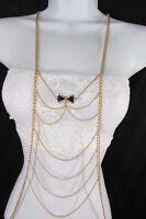 Women Gold Metal Body Chain Fashion Jewelry Mini Bow Pendant Black / Pink