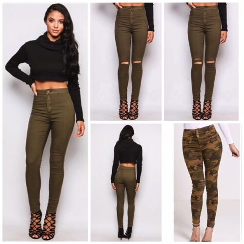Womens Ladies High Waisted Skinny Stretchy KHAKI Jeggings Trousers Jeans 6-22