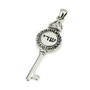 Silver 925 LIVELIHOOD KEY Shadai Crown 40mm LONG Kabbalah Pendant Necklace