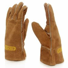 Heavy Duty Wood Log Burner Stove Fireplace Heat Resistant Fire Gloves Gauntlets