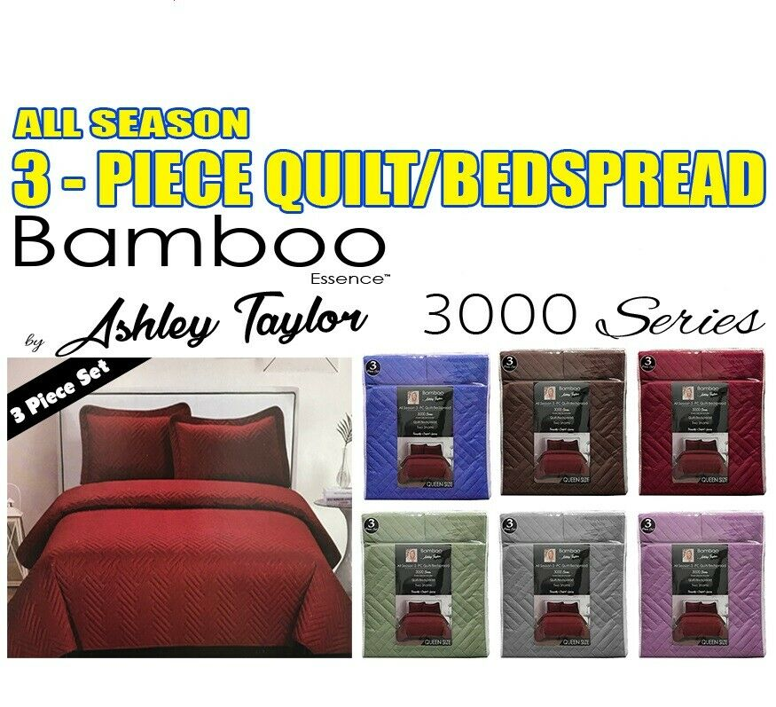 BAMBOO ASSENCE BY ASHLEY TAYLOR ALL SEASON 3-PC QUILT BEDSPREAD 3000 SERIES QUEE