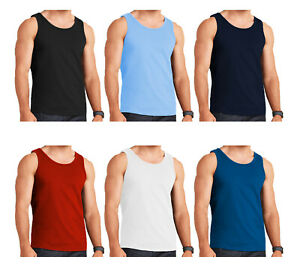 6-MENS-VESTS-100-COTTON-TOP-TANK-TRAINING-SLEEVELESS-SUMMER-GYM-S-M-L-XL-2XL
