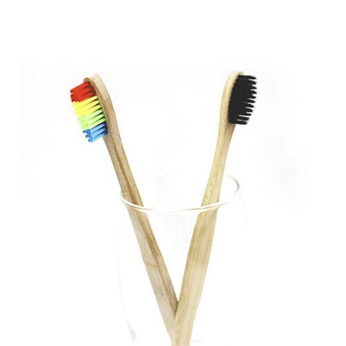 Medium-Bristle Bamboo Toothbrush Rainbow Wood Teeth Brush Fibre Hand MW