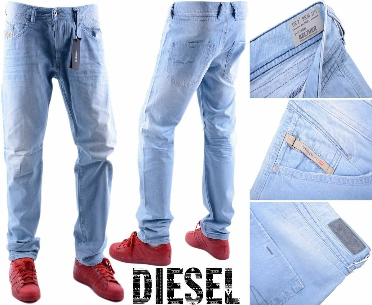 DIESEL BELTHER 0852I W36 L30 3D EVO Mens Denim Jeans Regular Slim Taperot Leg | Elegantes und robustes Menü  | Bevorzugtes Material  | Langfristiger Ruf