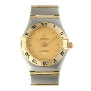 Omega Swiss Made 2 Tone 18K Gold Full Bar Stainless Steel Mini Ladies Watch