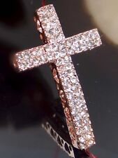 35mm Rose Curved Crystal Rhinestone Cross Bracelet Connector Charm Bead