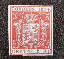 Ee25_7363. ed 25 Escudo 2 reales, rojo,...  Spain 1854 , ver. beauty bonito