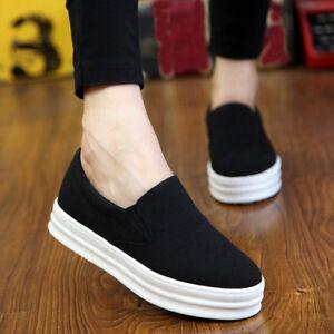f806fb327c88d Details about Women's Platform Loafers Sneaker Hidden Wedge Skateboard  Sport Slip On Shoes