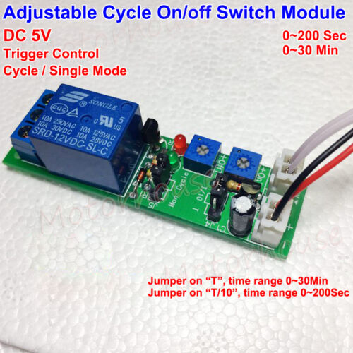 Adjustable Time Cycle On//off Switch Trigger Delay Timing Control Relay Module