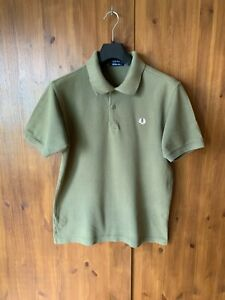 FRED-PERRY-POLO-T-SHIRT-Khaki-Green-Short-Sleeve-Top-Mens-MEDIUM-VGC