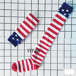 US-USA-American-America-Flag-July-4th-Patriotic-Red-White-Blue-Socks-Stockings