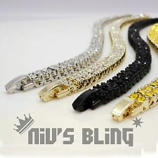 14k Gold Silver Black Canary 2 ROW Lab Diamond Out ICED Chain Tennis Bracelet