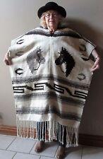 Vintage  Poncho Serape Horses Hand Woven Wool Southwest Indian Blanket