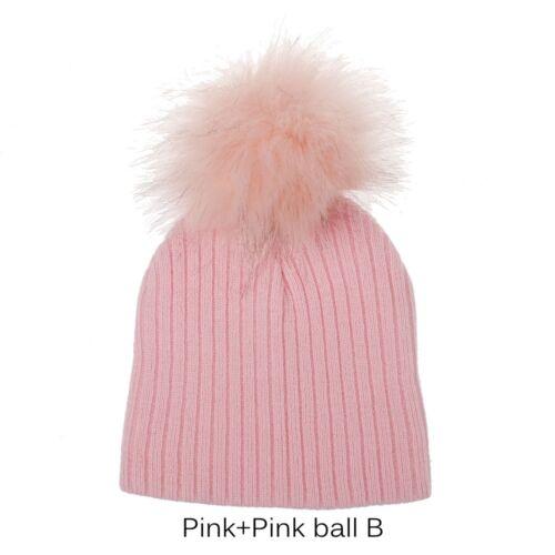 Cute Baby Cap Faux Pompom Fur Hat Girls Boys Crochet Kids Knitted Cap