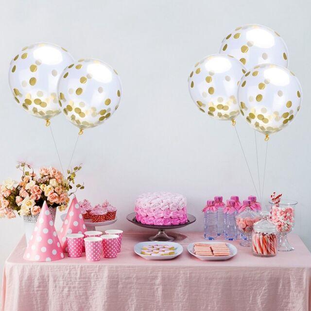 10pcs New Gold silver Confetti Wedding Ballon Happy Birthday Balloon Baby S Q5Y5