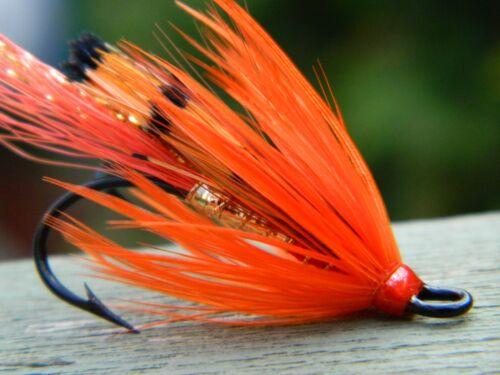 fully dressed Red Ally/'s shrimp double hook fly Atlantic Salmon Steelhead #4