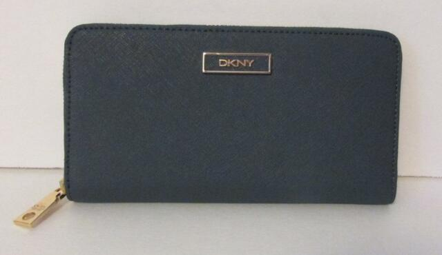 bc4718fdd DKNY Saffiano Leather Iron Zip Continental Wallet Donna Karan logo gray dark