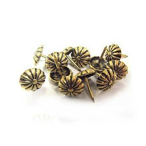 Brass upholstery nails antique daisy 1 2 length for Decorative crafts inc brass