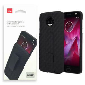 the latest 60c6d e22ce Details about Verizon Shell Holster Clip Combo Hard Case For Motorola Moto  Z2 Force Edition