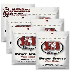 6 Sets! SIT Strings PN942 Extra Light Power Groove Pure Nickel .009-.042