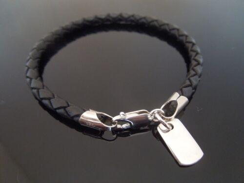 4mm Black Braided Leather Bracelet /& 925 Sterling Silver MINI Dog Tag ID Charm