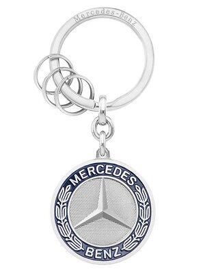 """9 cm Original Mercedes-Benz keyring /""""Stuttgart/"""" silver stainless steel approx"""