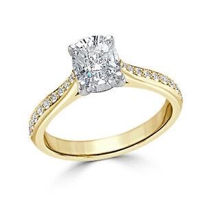 1.30 Ct Cushion Cut Moissanite Wedding Ring 14K Bridal Solid Yellow Gold Size 7