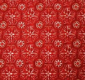 Red-Tile-Damask-BTY-Unbranded-100-Cotton-Fabric