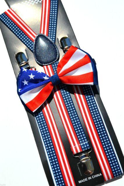PATRIOTIC AMERICAN Flag Suspender Bow Tie Baby Toddler Kids Child US SELLER