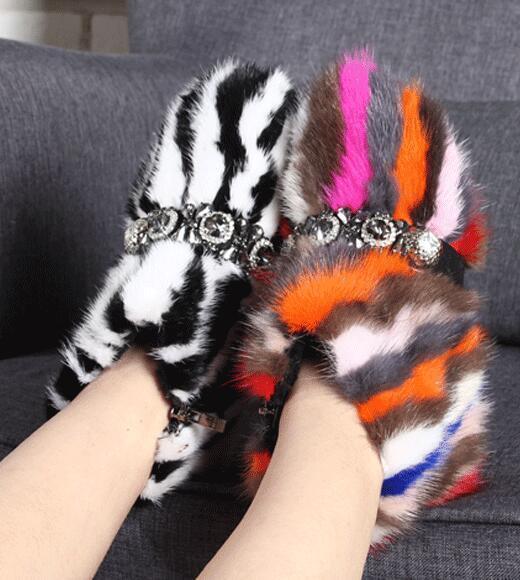 ordina adesso donna Thicken Fur Rhinestones Mixed Colores Colores Colores Ankle Snow stivali Warm Winter scarpe G3  la migliore moda