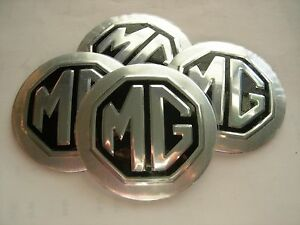 Details about MG MGB MIDGET TD TC TF WHEEL CENTER CAP EMBLEMS ALUMINUM  STICKERS CONED 3D SILV