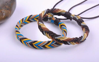 2PCS Cool Multi-Color Handmade Adjustable Hemp Leather Bracelet Bangle No Met