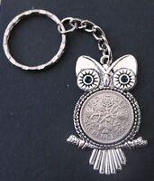 1962 55th birthday lucky Sixpence Owl Charm keyring Silver card gift box wedding