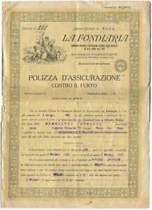POLIZZA-Assicurazione-Furto-La-Fondiaria-Ag-Gen-Roma-1925-m