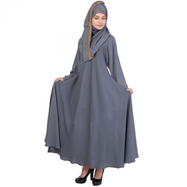 Crepe Round Collar Black Abaya Indian Muslim Womens Hijab Burqa Abaya Dress