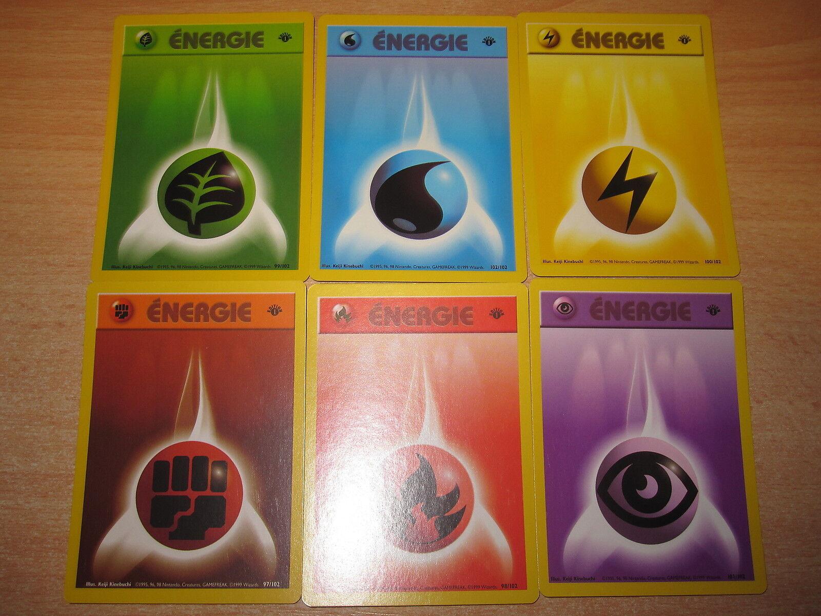 POKEMON NEUVE (◕‿◕ ) LOT DES ENERGIE ENERGIE ENERGIE (6) EDITION 1 SET DE BASE FRANCAIS GEM MINT d52d50