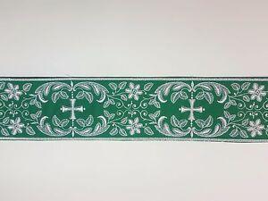 Vintage-Religioso-Cruz-Diseno-Blanco-Encendido-Verde-Banda-Rayon-amp-cotton-8-3cm
