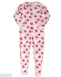 Adult Plush Hearts Fleece Pajamas S Xl One Piece Union Suit Valentines Day Gift Ebay