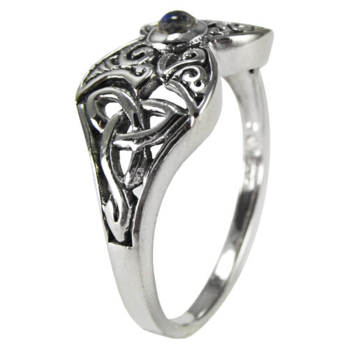 Sterling Silver Moonstone Crescent Moon Triquerta Butterfly Ring Celtic Knot