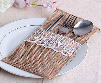 NEW Natural Jute Lace Pockets Rustic Wedding Tableware Packaging Fork & Knife PB