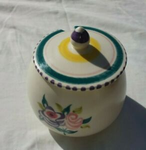 Vintage-Poole-Condiment-Jam-Honey-Pot-Floral-Pattern-In-Great-Condition
