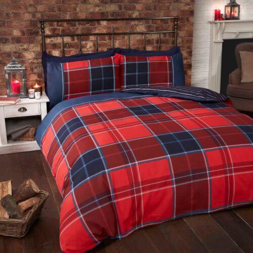 Rapport Argyle Tartan Reversible Stripe Duvet Cover Set Red Free P/&P