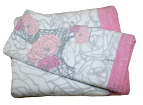 Nanette Lepore Kids 100/% Cotton Bath Towel Set 2pcs Color Pink//Grey on White