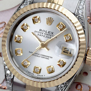 Women-039-s-Rolex-26mm-Datejust-2-Tone-Silver-Color-Dial-with-10-Diamond-Numbers