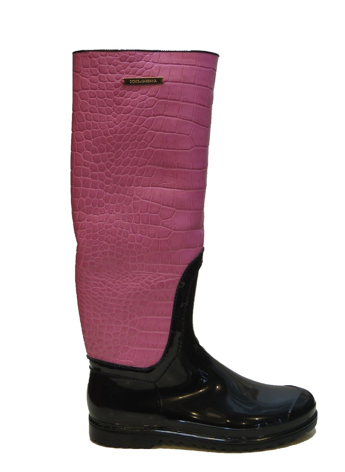 DOLCE & GABBANA Italy Woman's Pink Crocodile Leather Rubber Rainboots Boots 8 7