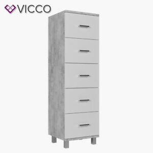 vicco badschrank ilias wei beton midischrank bad schrank badregal badezimmer 4251421917873 ebay. Black Bedroom Furniture Sets. Home Design Ideas