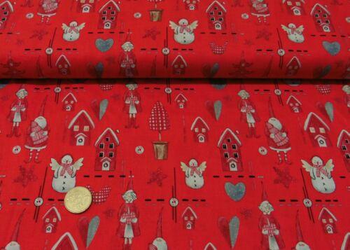 Lovely Winter Weihnachtsstoff rot Baumwolle Webware Weihnachtsstoffe 50 cm