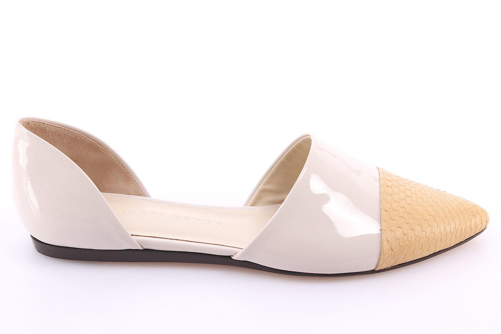 Damen Schuhe Ballerinas Sandalen JENNI KAYNE Leder Glossy Weiß Real Snake Neue